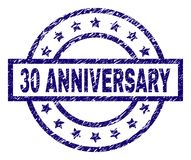 Scratched Textured 30 ANNIVERSARY Stamp Seal. 30 ANNIVERSARY stamp seal watermark with grunge texture. Designed with rectangle, circles and stars. Blue  rubber Royalty Free Stock Image