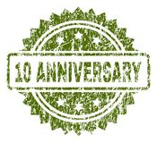 Grunge Textured 10 ANNIVERSARY Stamp Seal. 10 ANNIVERSARY stamp seal watermark with rubber print style. Green vector rubber print of 10 ANNIVERSARY title with royalty free illustration