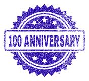 Grunge 100 ANNIVERSARY Stamp Seal. 100 ANNIVERSARY stamp watermark with corroded style. Blue vector rubber seal print of 100 ANNIVERSARY title with grunge vector illustration