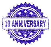 Grunge 10 ANNIVERSARY Stamp Seal. 10 ANNIVERSARY stamp watermark with grunge style. Blue vector rubber seal print of 10 ANNIVERSARY title with dirty texture stock illustration