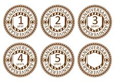 Anniversary stamps set. Royalty Free Stock Images