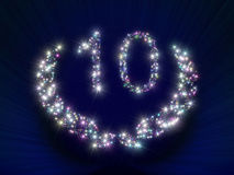 Anniversary Stars Number 10 years. Abstract background glamour illustration representing a greeting gift card dedicated to 10 years anniversary jubilee with Stock Images