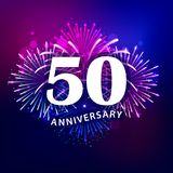 50 Anniversary text with colorful fireworks. Background. Greeting card, banner, poster. Vector illustration Royalty Free Stock Images