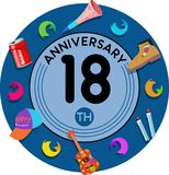 Anniversary 18th. Set of anniversaries from 10 to 50. Offerings and beautiful birthday comments to the people closest to you Royalty Free Stock Image