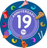 Anniversary 19th. Set of anniversaries from 10 to 50. Offerings and beautiful birthday comments to the people closest to you Royalty Free Stock Image