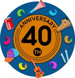 Anniversary 40th. Set of anniversaries from 10 to 50. Offerings and beautiful birthday comments to the people close to you Vector Illustration