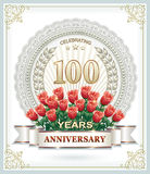 100 anniversary. 100 th anniversary with a bouquet of red roses Stock Photography