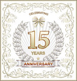 15 Anniversary. 15th anniversary illustration with wheat ears Royalty Free Illustration