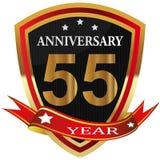 Anniversary 55 th label with ribbon. Label decoration ceremony anniversary vector sign symbol celebration icon birthday stock illustration