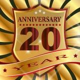 Anniversary 20 th  label with ribbon. Label  decoration  ceremony  anniversary  vector  sign  symbol  celebration  icon  birthday Stock Image