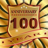 Anniversary 100 th  label with ribbon. Label  decoration  ceremony  anniversary  vector  sign  symbol  celebration  icon  birthday Stock Photos