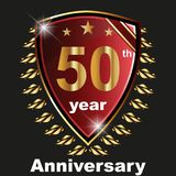 Anniversary 50 th label with ribbon. Label decoration ceremony anniversary vector sign symbol celebration icon birthday Stock Illustration