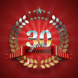 Anniversary 30th ring with red ribbon. Royalty Free Stock Photography