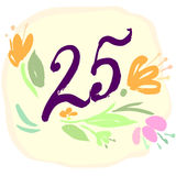 Anniversary 25th signs Stock Photography