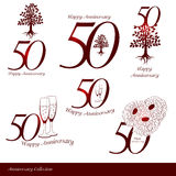 Anniversary 50th signs collection Royalty Free Stock Image