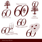 Anniversary 60th signs collection Royalty Free Stock Image
