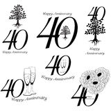 Anniversary 40th signs collection vector illustration