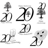 Anniversary 20th signs collection. Anniversary, birthday and jubilee emblem with oak, champagne an flowers royalty free illustration