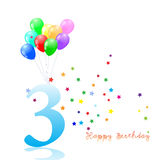 Anniversary third birthday signs collection. Anniversary, birthday emblem Stock Image