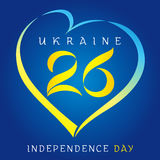 26 anniversary Ukraine independence day. Ukraine Independence Day vector design 26th years anniversary in heart color national flag on blue background Royalty Free Stock Photos