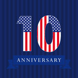 Anniversary 10 US flag logo. Anniversary 10 US flag logotype. Template of celebrating 10 th. Isolated numbers in traditional style on striped abstract blue Royalty Free Stock Images