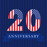 Anniversary 20 US flag logo. Anniversary 20 US flag logotype. Template of celebrating 20 th. Isolated numbers in traditional style on striped abstract blue stock illustration
