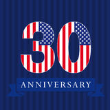 Anniversary 30 US flag logo. Anniversary 30 US flag logotype. Template of celebrating 30 th. Isolated numbers in traditional style on striped abstract blue Royalty Free Stock Image