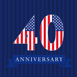 Anniversary 40 US flag logo. Anniversary 40 US flag logotype. Template of celebrating 40 th. Isolated numbers in traditional style on striped abstract blue Stock Illustration