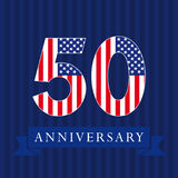 Anniversary 50 US flag logo. Anniversary 50 US flag logotype. Template of celebrating 50 th. Isolated numbers in traditional style on striped abstract blue Stock Photography