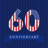Anniversary 60 US flag logo. Anniversary 60 US flag logotype. Template of celebrating 60 th. numbers in traditional style on striped abstract blue background vector illustration