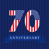 Anniversary 70 US flag logo. Royalty Free Stock Images