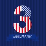Anniversary 3 US flag. Logo. Template of celebrating icon of 3 d place as American flag. USA numbers in traditional style on striped abstract blue background Stock Photo