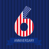 Anniversary 6 US flag. Logo. Template of celebrating icon of 6 th place as American flag. USA numbers in traditional style on striped abstract blue background Stock Photo
