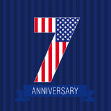 Anniversary 7 US flag. Logo. Template of celebrating icon of 7 th place as American flag. USA numbers in traditional style on striped abstract blue background Royalty Free Stock Image