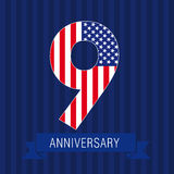 Anniversary 9 US flag. Logo. Template of celebrating icon of 9 th place as American flag. USA numbers in traditional style on striped abstract blue background Stock Images
