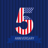 Anniversary 5 US flag. Logo. Template of celebrating icon of 5 th place as American flag. USA numbers in traditional style on striped abstract blue background Royalty Free Stock Photography