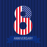 Anniversary 8 US flag. Logo. Template of celebrating icon of 8 th place as American flag. USA numbers in traditional style on striped abstract blue background Royalty Free Stock Photos
