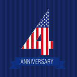 Anniversary 4 US flag. Logo. Template of celebrating icon of 4 th place as American flag. USA numbers in traditional style on striped abstract blue background Royalty Free Stock Photography