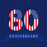 Anniversary 80 US flag logotype. Anniversary 80 US logotype. Template of celebrating congratulating 80 th. Isolated numbers in traditional style on striped Stock Photography