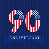 Anniversary 90 US flag logotype. Anniversary 90 US logotype. Template of celebrating congratulating 90 th. Isolated numbers in traditional style on striped Vector Illustration