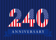 240 anniversary USA logo. The template icon of 240th years with American flag Royalty Free Stock Photography