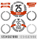 Anniversary Vector Elements. Black with Red Ribbon. Stock Image