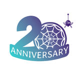 Anniversary vector icon. 20 years anniversary vector icon with spider web pattern Stock Images