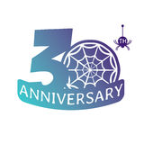 Anniversary vector icon. 30 years anniversary vector icon with spider web pattern Royalty Free Stock Photos