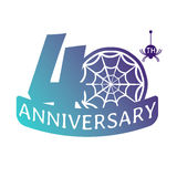Anniversary vector icon. 40 years anniversary vector icon with spider web pattern Stock Photos