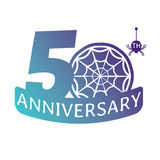 Anniversary vector icon. 50 years anniversary vector icon with spider web pattern Stock Photos