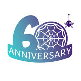 Anniversary vector icon. 60 years anniversary vector icon with spider web pattern Stock Photography