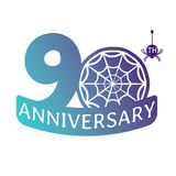 Anniversary vector icon. 90 years anniversary vector icon with spider web pattern Stock Illustration