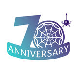 Anniversary vector icon. 70 years anniversary vector icon with spider web pattern Stock Photos