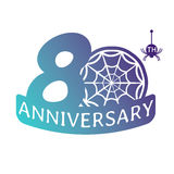 Anniversary vector icon. 80 years anniversary vector icon with spider web pattern Royalty Free Stock Photo